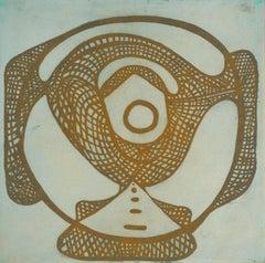 """Wheelhouse One"", baseball inspired aquatint print, pale cerulean blue, ochre."