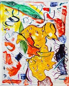 Scholar Rocks 24, painterly abstract landscape monoprint, yellow, green, orange.