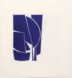 """Covers One Ultramarine"", abstract aquatint print, mid-century modern, deepblue"