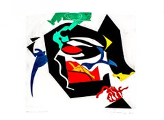 """""""Studious Silence"""", abstract modernist monoprint, black, green, yellow, red."""