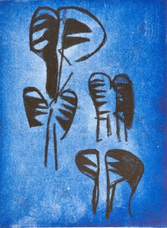 """""""Zebras In The Evening"""", etching print, African wildlife, animal drawing, blue."""