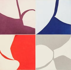 New Alphabet 29, graphic abstract aquatint monoprint, red, blue, violet, silver.