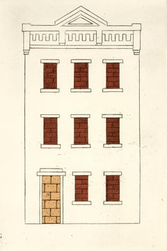 Brownstone Two, urban landscape etching print, New York City.