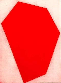 """Metropolis III"", abstract modernist geometric aquatint print, cadmium red."