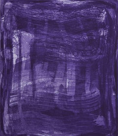 """Serpentine Four "", gestural abstract aquatint print, shades of blue and violet."