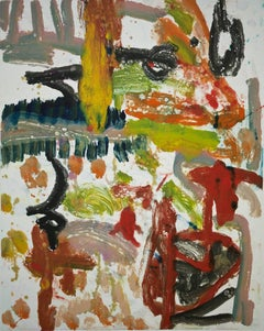 """""""Landscape Four"""", gestural abstract painterly monotype red, green, blue, yellow."""
