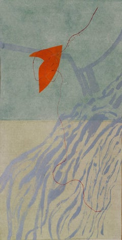 """""""Happy Birthday"""", abstract landscape, aquatint print, Japanese paper, silver."""