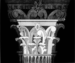 Corinthian Capital Two, graphic architectural detail etching and aquatint print.