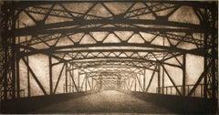"""Infrastructure #15"", urban architectural etching print, Brooklyn Bridge, NYC."