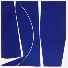 Covers Four Ultramarine, abstract aquatint print, mid-century modern, deepblue