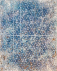 """Intersection/Cosmos 17"", abstract geometric monoprint, blue, gold, silver grid."