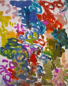 """""""Landscape One"""", gestural abstract painterly monoprint, red, green, blue, yellow"""