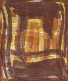 """""""Thick and Thin Four"""", abstract aquatint monoprint, yellow, sanguine, raw umber."""