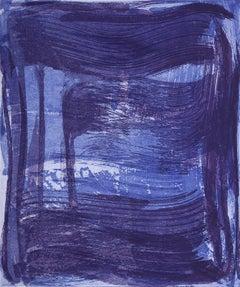 Broad Strokes One, gestural abstract aquatint print, ultramarine blue, violet.