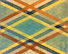 """""""Intersections/Skies 18"""", abstract geometric print, blue, yellow, orange, gold."""