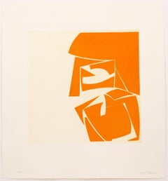 """Covers 3 Orange"", abstract aquatint print, mid-century modern, yellow orange"