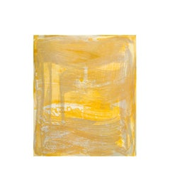 """Broad Strokes Seven"", gestural abstract aquatint print, layered silver, yellow."