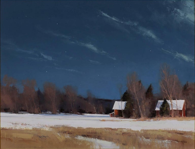 Ben Bauer Landscape Painting - Grant Township Farm by Moonlight