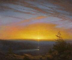 Delaware River: Sunset over Fog Bank, Catskills