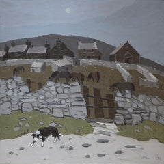 Sheepdog Pentre Pella (Oil Painting by Sir Kyffin Williams - Welsh Landscape)