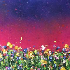 Magenta Glow, Colourful painting, abstract painting , pink, yellow, green meadow