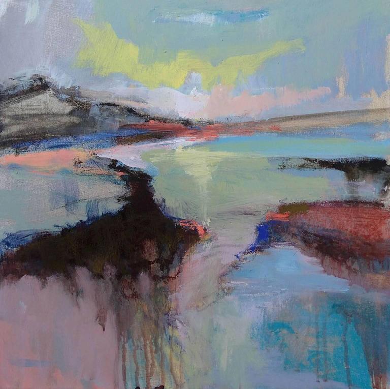 Magdalena Morey Landscape Painting - Distant Horizons 2, original art , seascape , colourful art