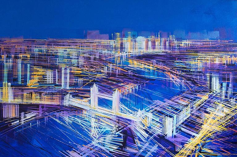 Marc Todd Landscape Painting - City of Lights, London, landscape painting , aerial view