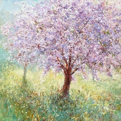 Cherry Blossom Tree, Landscape Painting, Contemporary art, impressionist style