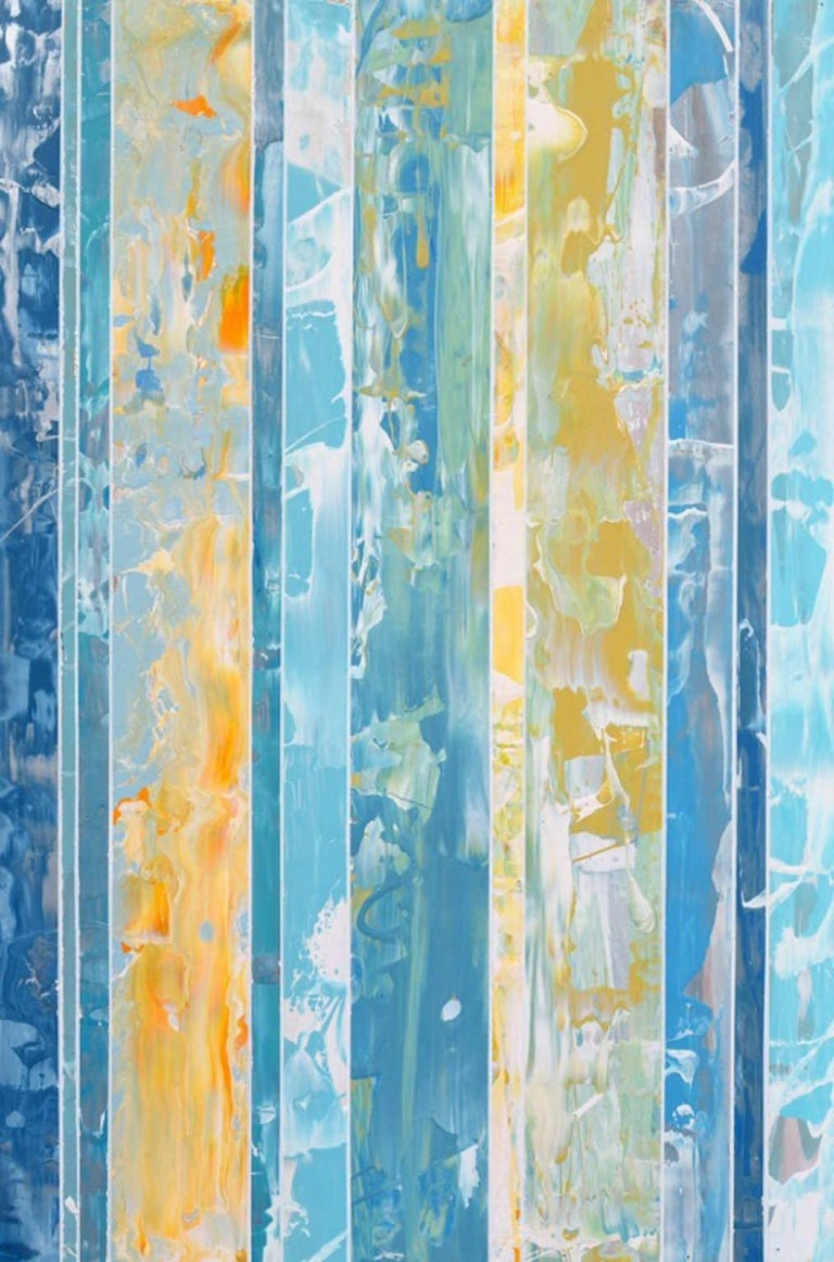 Abstract work by Andrzej Michael Karwacki from his EQ redefined series: 'EQ redefined, 1600-10-2.' This work of art is created by applying paint with a palette knife onto thin wooden boards.The boards are then cut into strips and and collaged. The