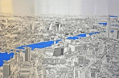 Above and Beyond, London Landscape, blue and silver aluminium art