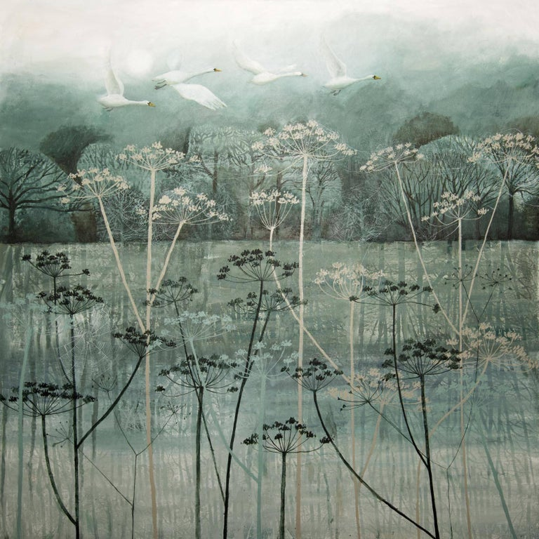 'Birds Flying High' is an original landscape painting by contemporary artist, Dawn Stacey. Dawn is inspired by the landscapes around her studio in Sussex; she also loves animals! So she incorporates these two elements into her painting to create