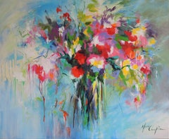 Bouquet of Joy, flower painting, colourful art, blue, pink