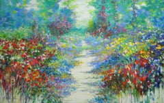 Summer walk in Giverny, semi abstract painting of flowers