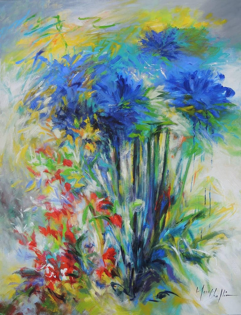 Mary Chaplin Abstract Painting - Blue agapanthus and crocosmias