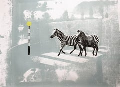 Zebra Crossing II, Katie Edwards, Limited edition print, Animal Art