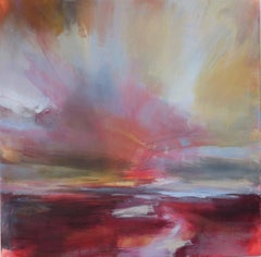 Evening Light, brightly coloured abstract Seascape, Skyscape Painting