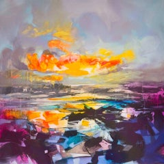 Rocks and Reflections, brightly coloured abstract landscape, oil and spray paint