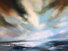 Across the Water, oil painting seascape and skyscape