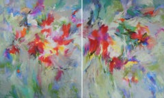 Dreamed Garden, a colourful abstract painting of flowers in France