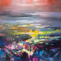 Clearing Mist, Scottish colourist, large abstract landscape of mountains