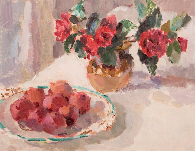 Camellias and a Dish of Plums, Still life painting in Impressionistic style