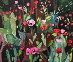 Opium Poppies Again, Oxford Botanic Gardens, abstract original painting flowers