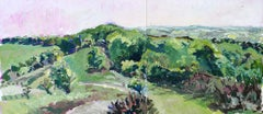 The Quantocks From Crowcombe, an abstract landscape oil painting, diptych