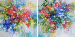 Through the mist of my memory, vibrant, colourful flowers garden, large painting