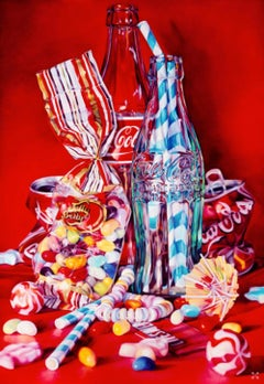 Coke, Jelly Beans and Lifesavers, still life pop art screen print