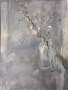 Great Tew Blossom II, still life, original oil, grey and pink painting