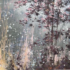 Silver Reeds, an abstract expressionist landscape with silver and pink painting