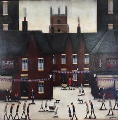 Keeping Watch, oil painting inspired by Lowry, original painting