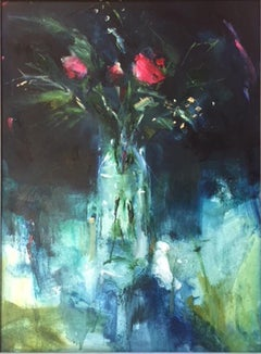 Three Red Roses in a Glass Jug, original painting,affordable art for sale,floral