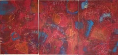 Red Painting, Abstract Expressionism, Mixed Media, Original Art